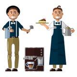 Barista en el uniforme, delantal y sombrero, m?quina del caf? y caf? haciendo el equipo stock de ilustración