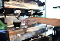Barista hand holding cup prepares his coffee royalty free stock photos