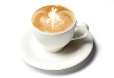 Barista Kaffeetasse getrennt über Weiß lizenzfreie stockbilder
