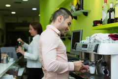 Barista make a cup of coffee Stock Photography