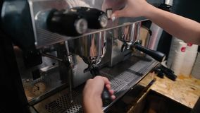Barista makes two coffees stock video