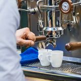 Barista is making coffee. Barista Cafe Making Coffee Preparation Service Concept Stock Images