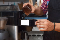 Barista making coffee shop staff male hands. Working at bar counter Stock Photos