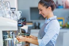 Barista making coffee Stock Photography