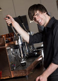 Barista making an espresso Royalty Free Stock Photo