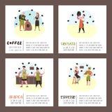 Barista Man y caracteres planos de la mujer en cafetería Personal del café de la historieta con el cartel de los granos de la taz ilustración del vector