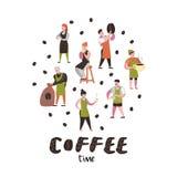 Barista Man y caracteres planos de la mujer en cafetería Personal del café de la historieta con los granos de la taza, de la taza libre illustration