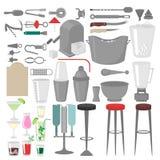 Barista piano Mixing, apertura e strumenti di guarnitura Attrezzatura del barista Icona isolata dello strumento Fotografia Stock