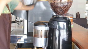 Barista Poured Coffee Beans herein zum Schleifer stock video footage