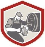 Barista Pouring Beer Ale Barrel Retro Immagini Stock Libere da Diritti