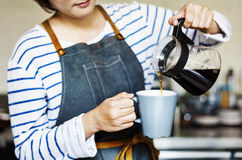 Barista Pouring Cafe Coffee Occupation Steam Concept Stock Photos