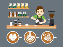Barista Pouring Latte Art, illustrazione di vettore Immagini Stock Libere da Diritti