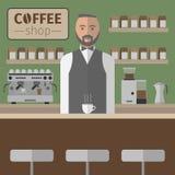 Barista Pracuje Z kawy espresso maszyną wektor ilustracji