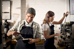 Barista Prepare Coffee Working Order Concept Stock Photography