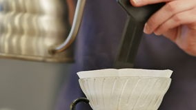 Barista prepare filtered coffee stock footage