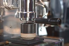 Barista prepares cappuccino in coffee shop royalty free stock photos