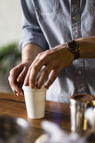Barista preparing coffee to go Royalty Free Stock Photo