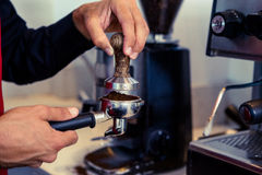 Barista pressing fresh coffee grounds Stock Images
