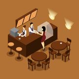 Barista Serving Customer Isometric Brown Poster Stock Photography