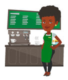 Barista standing near coffee machine. Stock Images