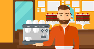 Barista standing near coffee maker. A hipster man with the beard standing near coffee maker on the background of bakery vector flat design illustration royalty free illustration