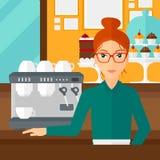 Barista standing near coffee maker. Stock Photography