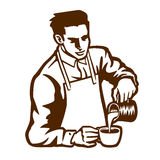 Barista waiter preparing cappuccino pouring milk in coffee cup latte art vector. Barista waiter with apron preparing cappuccino pouring milk in coffee cup latte Royalty Free Stock Images