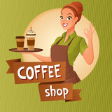 Barista waitress with cups coffee showing ok sign. Vector illustration with text. Beautiful barista waitress holds a tray with cups of hot and ice coffee Royalty Free Stock Photos