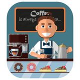 Barista am Zähler in der Kaffeestube, in der Kaffeemaschine und in den Bonbons im Fenster vektor abbildung