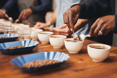 Baristas training to make the perfect cup of coffee Royalty Free Stock Photography