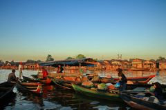 Barito river floating market in the morning royalty free stock images