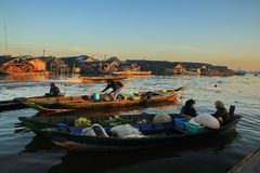 Barito river floating market in the morning stock photo