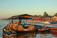 Barito river floating market in the morning stock image