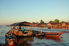 Barito river floating market in the morning royalty free stock photos