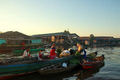 Barito river floating market in the morning royalty free stock image