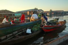 Barito river floating market in the morning stock photos