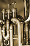 Baritone valves. Valves of an old baritone horn Royalty Free Stock Images