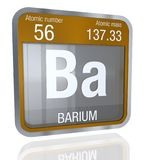 Barium symbol in square shape with metallic border and transparent background with reflection on the floor. 3D render. Element number 56 of the Periodic Table stock illustration