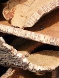 Bark for corks. Stack of oak's bark used to produce corks for wine bottles stock photos