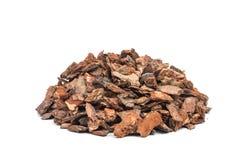 Bark. Heap of pine bark isolated royalty free stock image