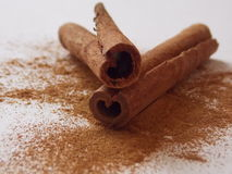 Bark hearts. Cinnamon in the form of hearts Stock Image