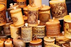 Bark jars for seasoning at the fair stock photos