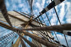 Bark Krusenstern. Sails and ropes view from below Stock Images