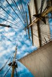 Bark Krusenstern. Sails and ropes view from below Stock Photos