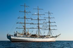 Bark Nadezda at anchor in the Bay East. Stock Photography