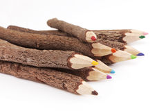 Bark pencils in positive colors. Color concept. Stock Images