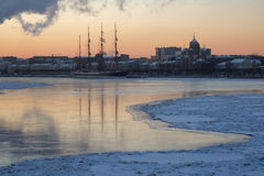 Bark Sedov in winter city Royalty Free Stock Photography
