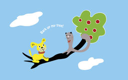 Bark up my tree. Cat and dog sitting on the tree and looking at each other. Text Bark up my tree royalty free illustration