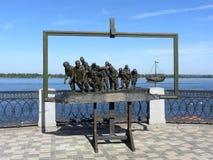 Barka ciskacze na Volga Zdjęcia Royalty Free