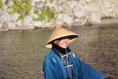 Barkarz w rowboat wycieczce turysycznej dla turysty na kanale przed Himeji kasztelem fotografia royalty free